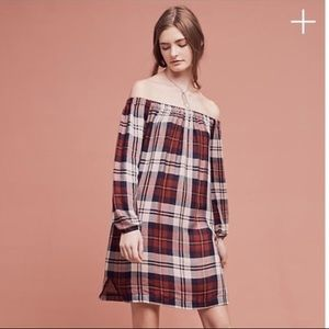 Anthro Cloth & Stone Plaid Off the Shoulder Dress